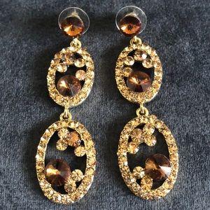 Fancy Gold & Brown Rhinestone Drop Earrings